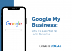 """Featured image for blog post contains an image of a phone with the word """"google"""" on the screen. The graphic also features the text """"Google My Business: Why it's Essential for Local Businesses."""